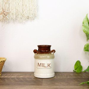Vintage Milk Jar Vase Boho Decor Mini Flower Vase